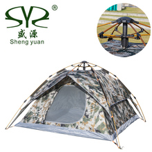 Camouflage Automatic Camping Tents For Hunting Fishing 3 - 4 Person Family Party Double Layer Multifunction Beach Outdoor Tent 2017 new 3 person 2 layer aluminum pole hiking travelling party family cycling fishing beach anti rain outdoor camping tent