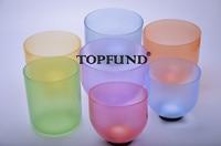 Chakra Tuned Set Of 7 Color Clear Quartz Crystal Singing Bowls 6 10 6 B Note