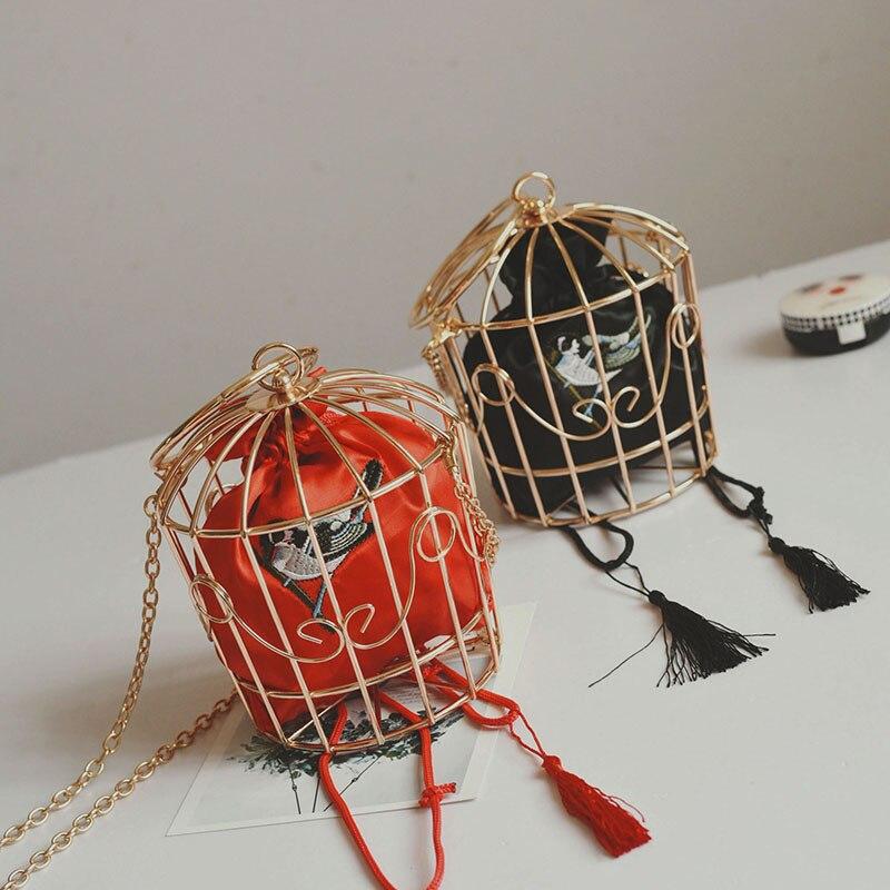 2017 Fashion Women Handbags Bird Embroidery Hook Flower Metal Iron Ring Bird Cage Bag Handbag Evening Bag