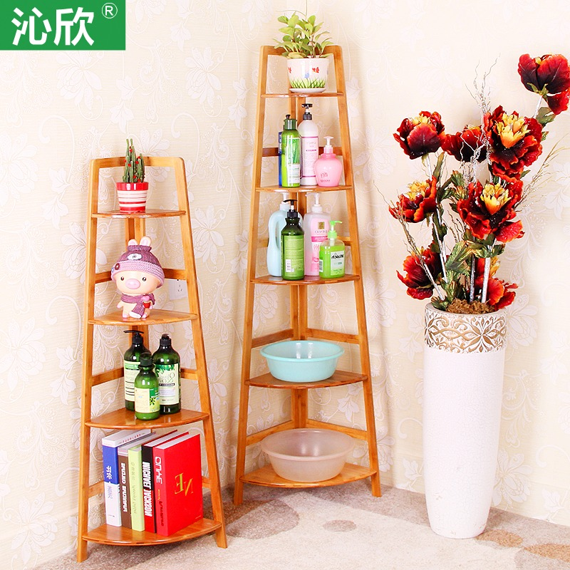 Bamboo wood bathroom corner shelf bookcase shelf creative home decorative shelf bulkhead ...