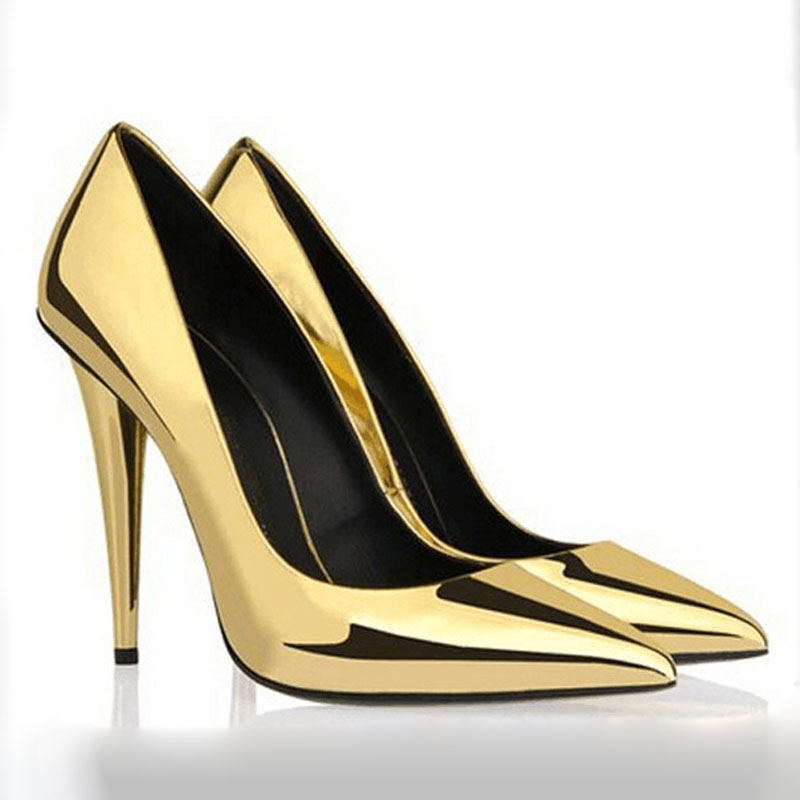 Luxury stylish pointed toe pumps gold patent leather high heels footwear spike heels sapatos femininos women pumps wedding shoes square heels 7 5 cm sapatos femininos high heels shoes woman round toe patent leather spring pumps t strap comfortable shoes
