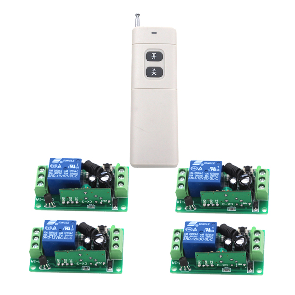 RF Switching New DC9V/12V/24V  Wireless Remote Control Switch 4 Receiver board & 1 Transmitter Remote Controller 315/433MHZ new restaurant equipment wireless buzzer calling system 25pcs table bell with 4 waiter pager receiver