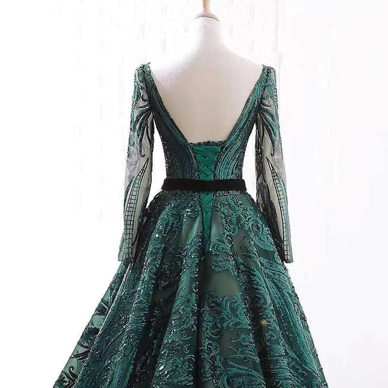 J66691 jancember Una Linea di abiti da sera maniche lunghe o-collo elegagnt abito da sera per le donne verde formale abiti da robe de soiree
