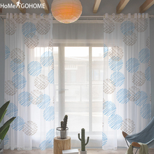 Kids Curtains for Bedroom White Sheer Curtain Window Decoration Graffiti Geometric Modern Tulle Living Room Kurtyna