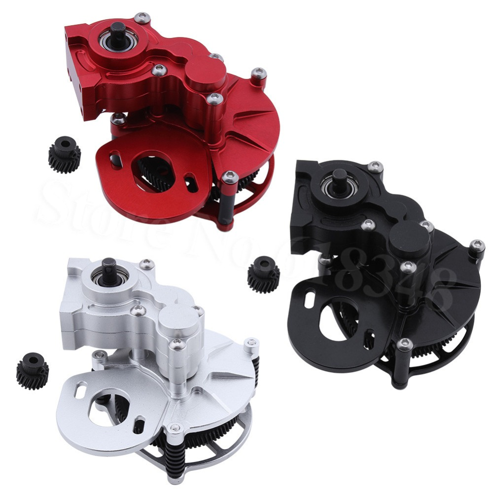 Aluminum Center Transmission Gearbox Case w/ Steel Metal Gear For Axial SCX10 AX10 1/10 RC Crawler Car Replacement Upgrade Par aluminum front knuckle arm 2pcs for axial ax10 scx10 silver
