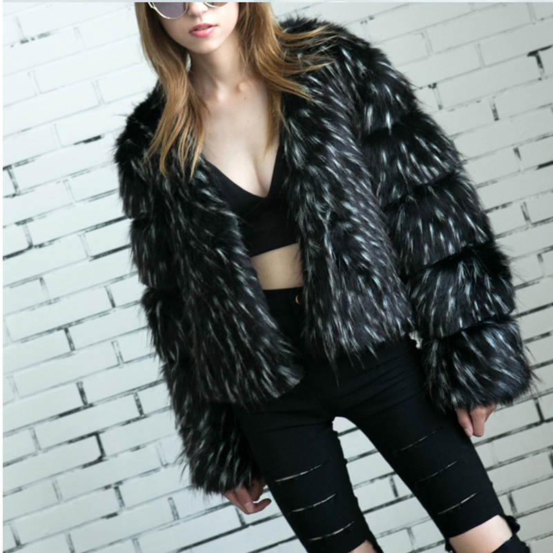 Fox hair raccoon hair New Style Fashion Sexy Women Winter Warm faux Fur Coat Christmas pub Body Con Celebrity Coats Wholesale