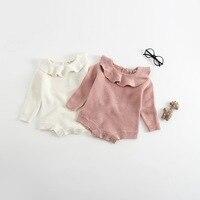 Knitted Baby Girls Romper Cute Lotus Turn Down Collar Sweater Children Kids Baby Girls Rompers Lorita