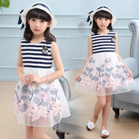 Kids Stripe Dresses for Girls Christmas Children Clothing Dress Princess Brithday Wedding Party Baby Girl Dress With hat DX03071