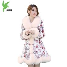Women Imitation Fur Coats 2017 Winter New Fashion Printing Down Cotton Jackets Artificial Fur Keep Warm Casual Tops OKXGNZ A631