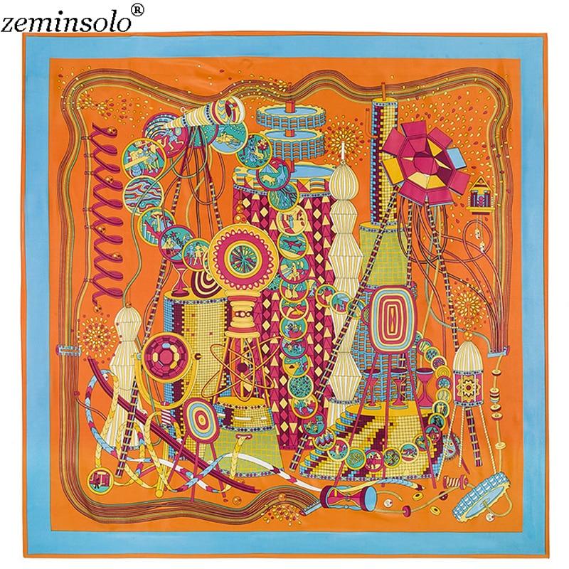 Luxury Brand 100% Twill Silk   Scarf   Square 130*130cm   Scarf     Scarves   New Design Print Kerchief Women Neck Shawl   Wraps   Echarpe Hijab