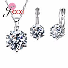 Fashion Luxury CZ Jewelry Sets 925 Sterling Silver Earring+Pendant Necklace Set Women Anniversary Birthday Gift Wholesale(China)
