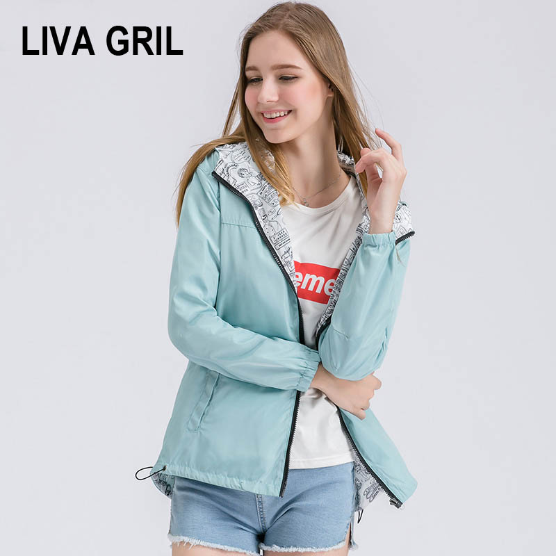 Liva 2018 Autumn Women Bomber   Basic     Jacket   Pocket Zipper Hooded Two Side Wear Cartoon Print Outwear Loose Coat