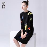 Toyouth Màu Đen Len Váy Phụ Nữ Thường Bông Dài Dresses Mùa Thu Geometric Hình Ảnh Dệt Kim O-Cổ Loose Áo Len