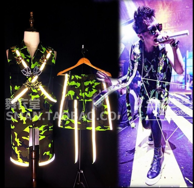 HOT 2016 New men singer DJ rights Zhi- Long GD long vests fluorescent camouflage Sleeveless coat nightclub costumes  clothing