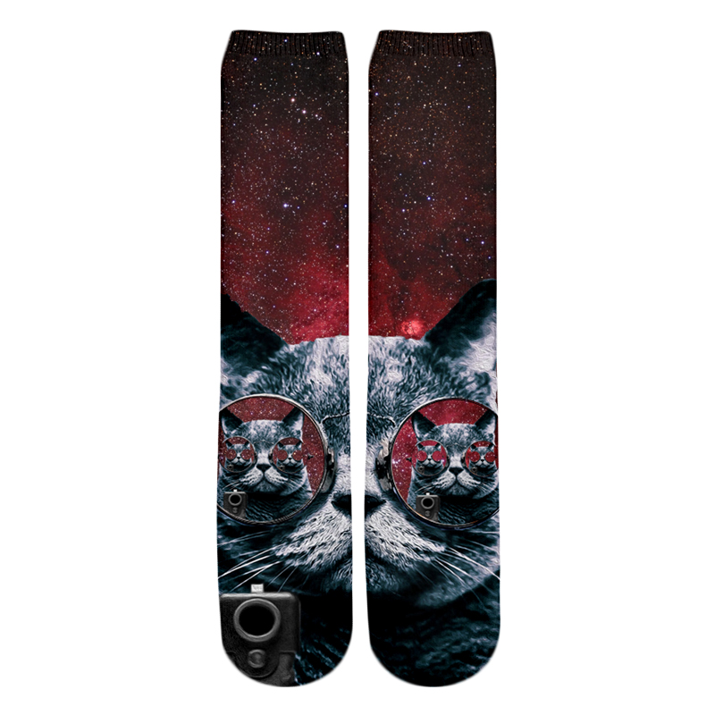 PLstar Cosmos Drop shipping 2018 New style Fashion Knee High Socks Animal Funny cat and pizza Print 3d Men's Women's Sock 2