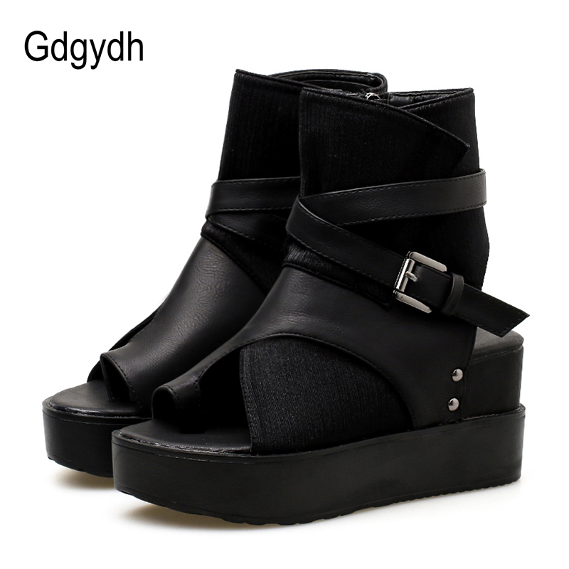 f7249a851aa1 Gdgydh 2018 Black Women Ankle Boots Spring Autumn Peep Toe Flat Heel Boots  For Female Buckle Platform Wedges Shoes Free Shipping