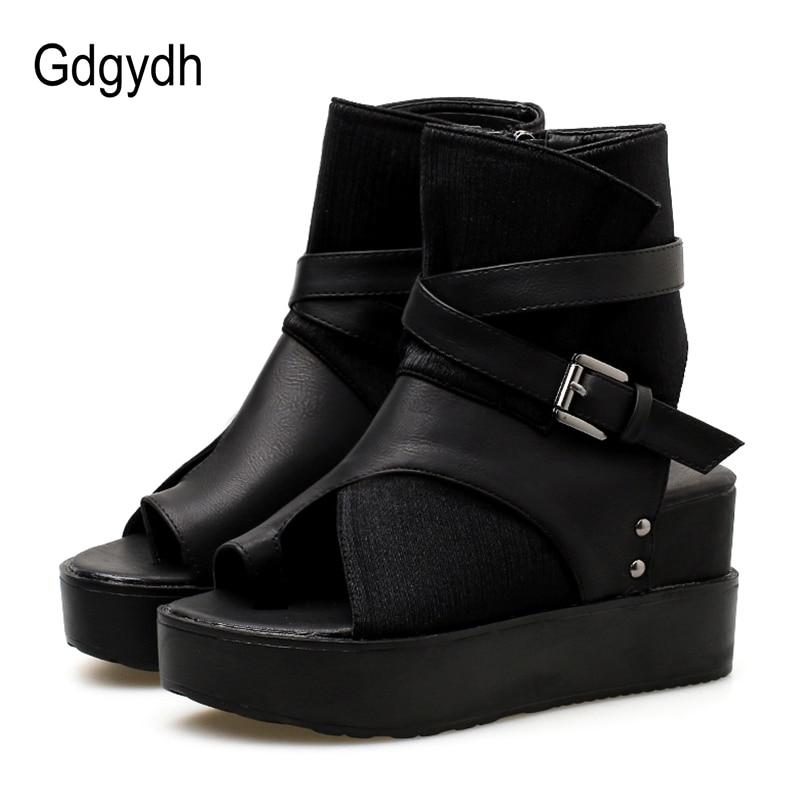 open toe black heel boots
