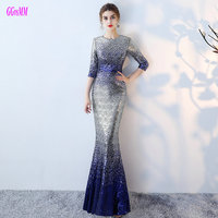 Unique Multi Colors Mermaid Evening Dresses 2018 Sexy Long Evening Party Dress O Neck Sequin Sashes