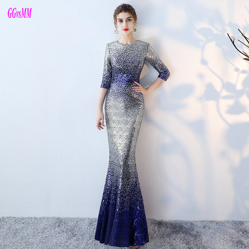 1048f8df Unique Multi Colors Mermaid Evening Dresses 2018 Sexy Long Evening Party  Dress O-Neck Sequin Sashes women formal evening gowns