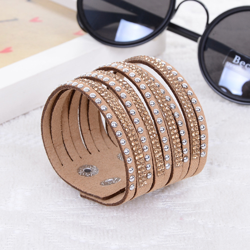bohemia punk design multi colors red blue black leather pave natural round alloy rhinestone charms adjustable bangle for women