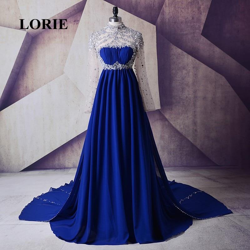 Fustani i mbrëmjes LORIE për qafën e lartë shtatzëna, Royal Blue beaded byrynxhyk, me mëngë të gjata Materniteti i Partisë Fustanet e fustaneve prom Rhinestones