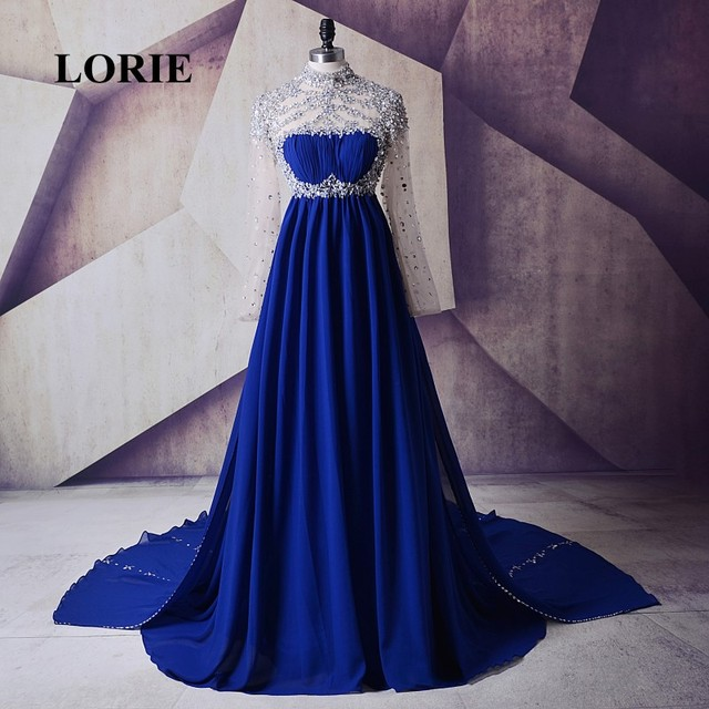 9f54910e1d LORIE Evening Dress for Pregnant High Neck Royal Blue Beaded Chiffon Long  Sleeve Maternity Party Gown prom dresses Rhinestones