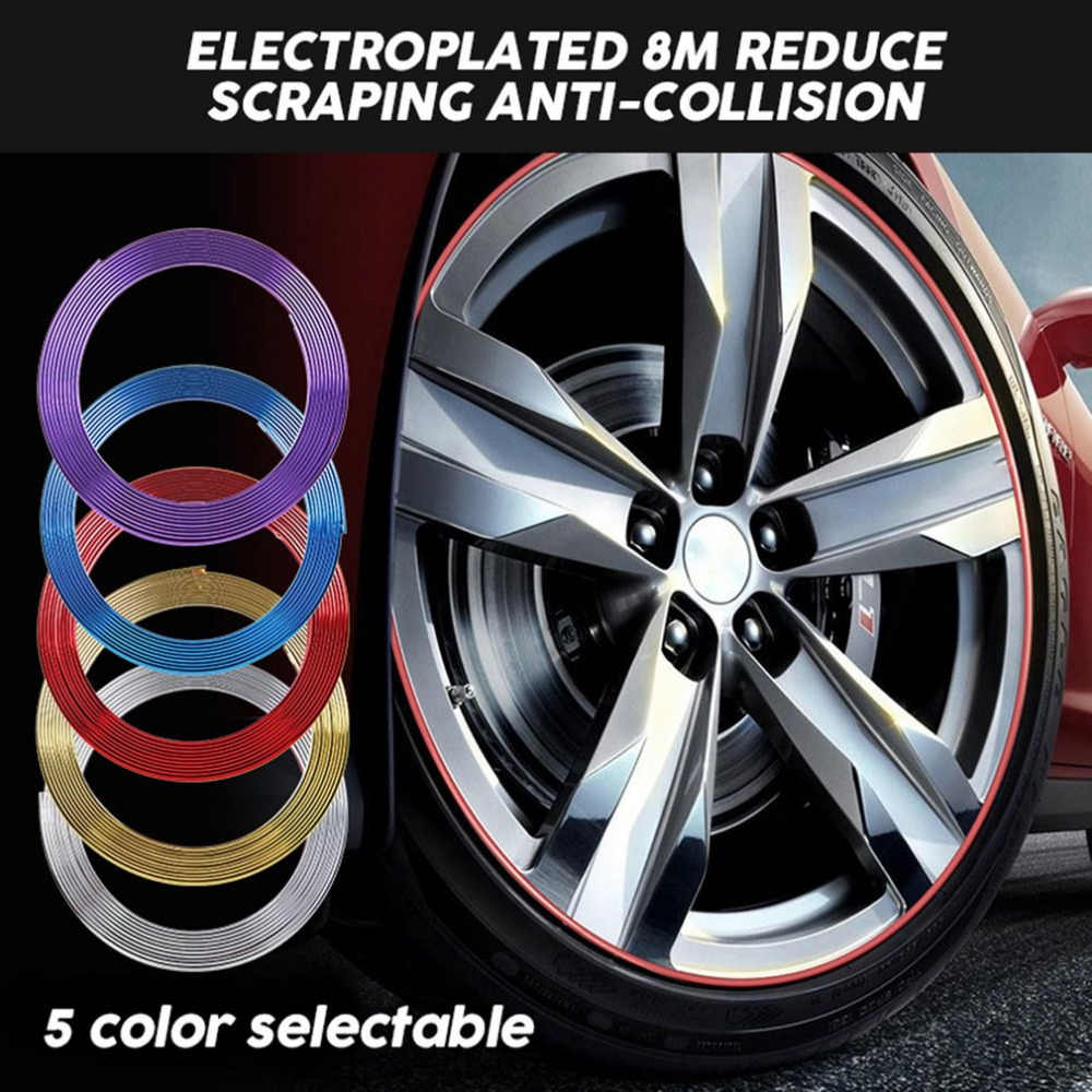 New 8M Electroplated Wheel Rim Trims Protective Guard Tape Reduce Scraping Anti-Collision Ring Rim Guard Car Styling Decoration