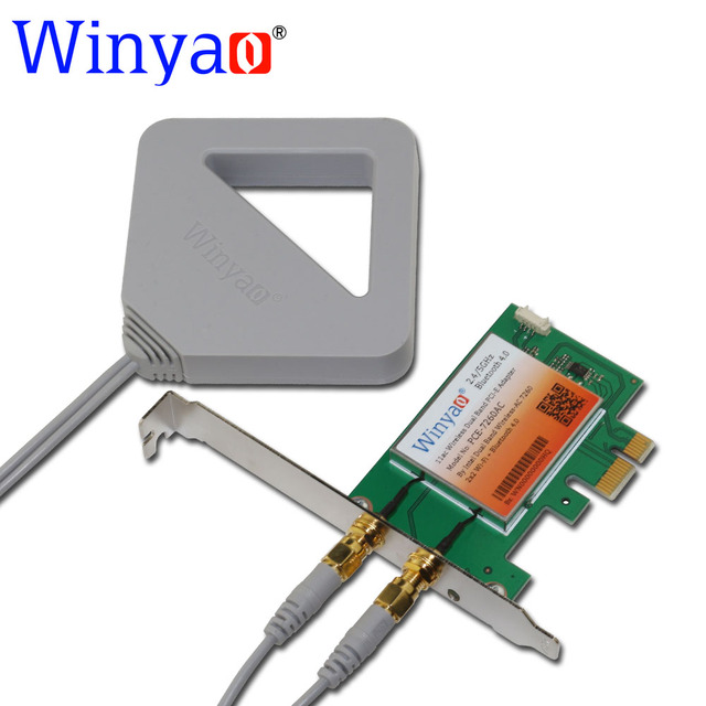 Winyao pce-7260ac dual band pci-express desktop pci-e placa de adaptador wi-fi 7260hmw 7260ac 867 mbps sem fio com bluetooth 4.0 bt 11ac