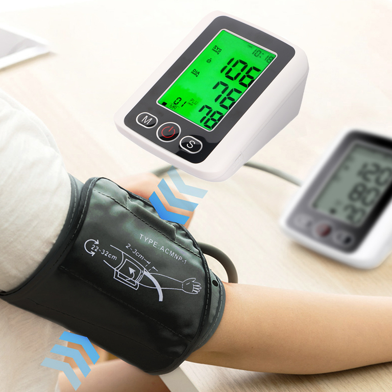 Blood Pressure Upper Arm Pulse Monitor With Voice Function LCD Portable Heart Beat Meter Measuring Automatic