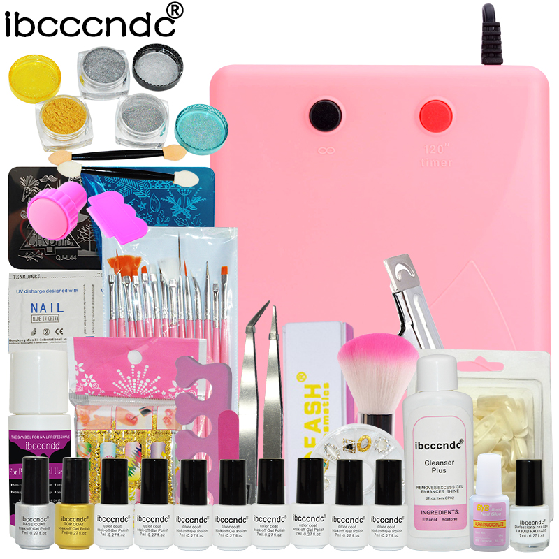 8 Pcs UV Gel Nail Polish Set Nail Art Tools Brushes Glitter Gel Varnish Manicure Kit + 36W UV Lamp Mirror Powder Nail Template nail art tools kit set 36w uv lamp