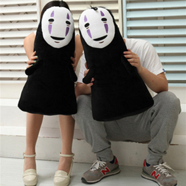 Fancytrader Japan Cartoon Movie Spirited Away  Black No-face Man Monster Toy Plush Scared Faceless Halloween Decoration Gift
