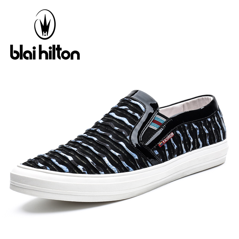 Blaibilton 2017 Brand Top Quality Slip On Loafers Men Shoes Fashion Personality Stripe Fabric Patchwork Mens Shoes Casual SD7003 vesonal 2017 top quality lycra outdoor ultralight slip on loafers men shoes fashion stripe mens shoes casual sd7005