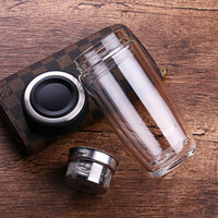 High Quality Double Walled Glass Mug Coffee Tea Mug Cups My Bottle for Water Tumbler Glass Water Bottle Cups with tea Infuser