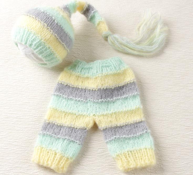 kapelë dhe pantallona të gjata të caktuara Fotografi të porsalindur për fëmijë Foshnje të thurura Mohair Baby Boy Vajzë beanie dhe Stripes pantallona Vija