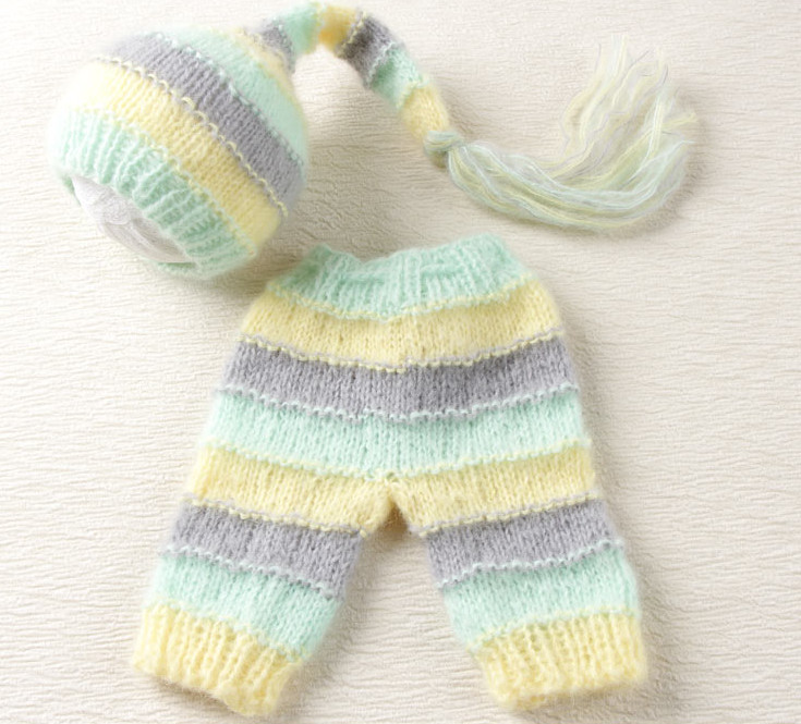 long Hat and Trousers set Newborn Baby Photography Prop Knitted Mohair Baby Boy Girl beanie and Stripes pants Stripes