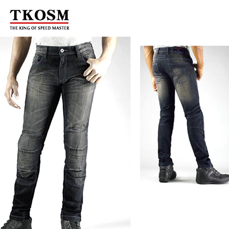TKOSM High Quality WJ-737S Motorcyle Pants for Men Moto Racing Jeans With Knee Pad Trousers Moletom Moto Comfortable Trousers high quality men s printed jeans punk style cotton straight leg cool jeans for young men comfortable trousers new brand yf52