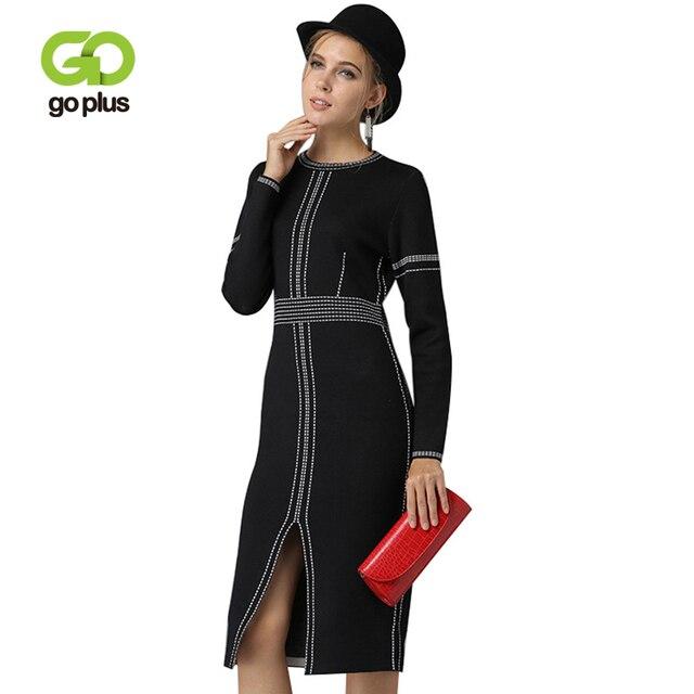 GOPLUS 2019 Fashion Spring Knitted Sweater Dress Women O-Neck Long Sleeve Slim Sexy Split Midi Dress Stripe Party Pullove Female