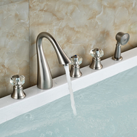 brushed-nickel-deck-mounted-bath-tub-sink-faucet-triple-handle-swan-widespread-spout