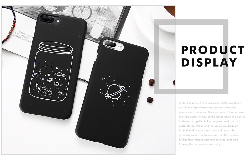 MR.YI Fashion Space Phone Case For iPhone 6 6S 7 8 Plus 5 5S SE X Cute Case Planet Moon Star Back Cover Hard PC For iPhone 7 8 6 (4)