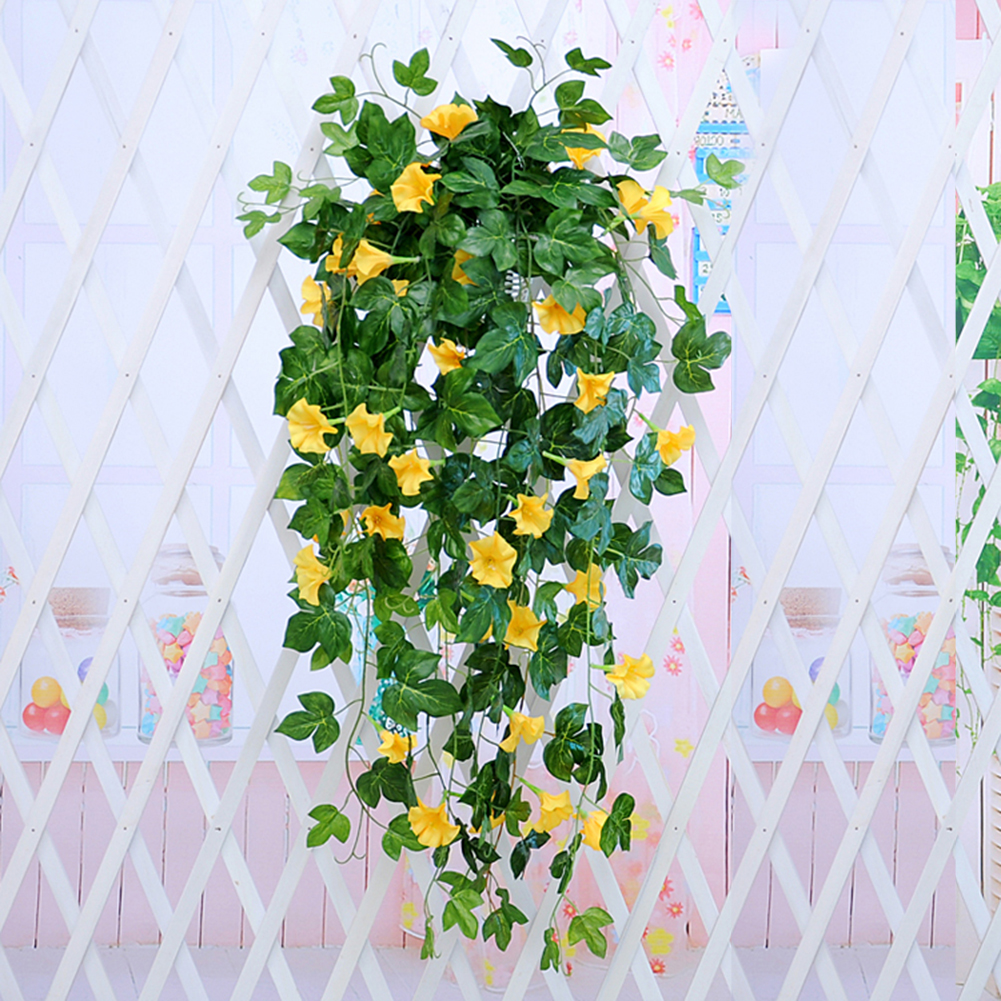 Morning Glory Hanging Plants Silk Garland Fake Green Plant Home Garden Wall Fence Stairway Outdoor Wedding Hanging Baskets Decor