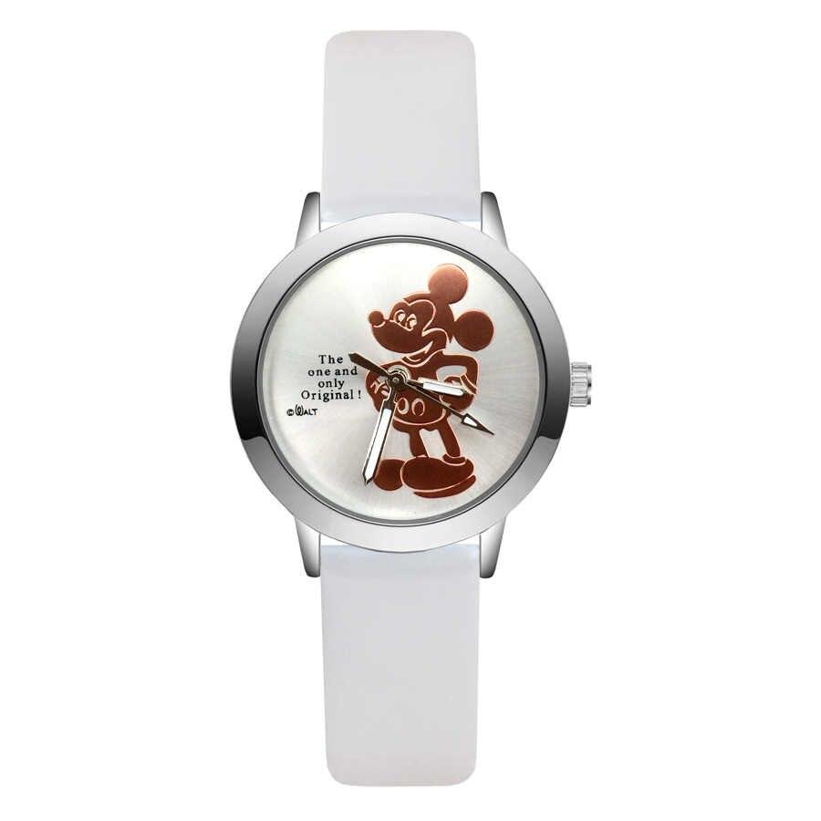 אופנה חמוד מיקי מיני מאוס סגנון ילדים שעונים לילדים סטודנטים בנות בני קוורץ עור שעון יד JA145