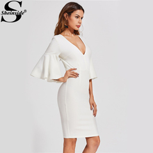 Sheinside Deep V Neck Flared Sleeve Plunge Neck Pencil Dress Women's 3/4 Sleeve Zip, Ruffle Bodycon Dress 2017 Party Wear Dress