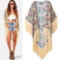 2016 moda nuevo estilo de La Vendimia de Las Señoras de Boho floral de la borla de Largo Abrigo Kimono Cardigan Blusa Chaqueta de la Capa