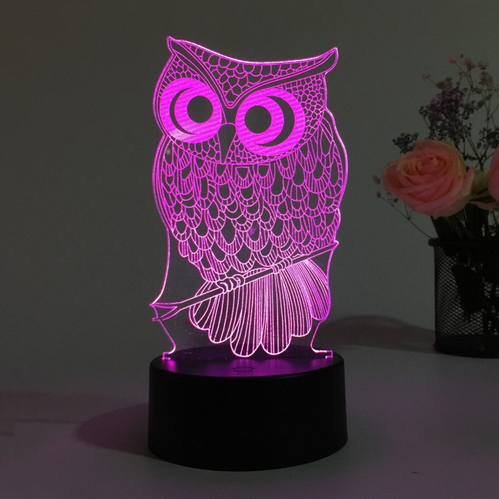 New Owl Light 3D LED Animal Night Light RGB Changeable Lamp Child Kids Baby Soft Lights Bedroom Decoration
