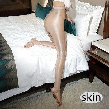 2489fc8d3 D Sexy aceite brillante cintura alta Anti-gancho medias sin pies danza  señora Pantyhose más tamaño Shaping t-entrepierna medias de mujer