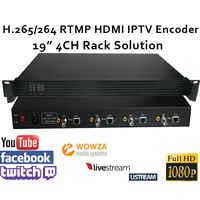 """4CH. 265/H.264 Video SDI Encoder supporto RTMP per la trasmissione in diretta 19 """"Rack IPTV Encoder SDI"""