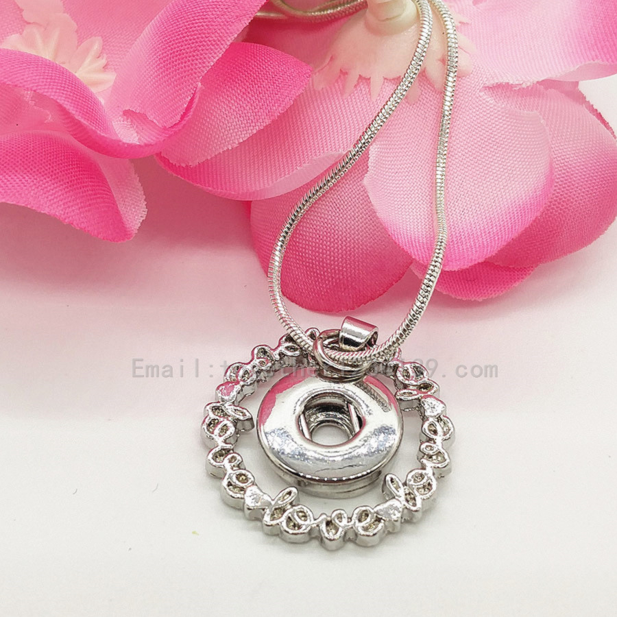 new fashion simple style love letter heart <font><b>12</b></font> <font><b>mm</b></font> <font><b>Snap</b></font> <font><b>Button</b></font> Chain <font><b>Necklace</b></font> Women Antique Silver Jewelry for Party,best gifts image
