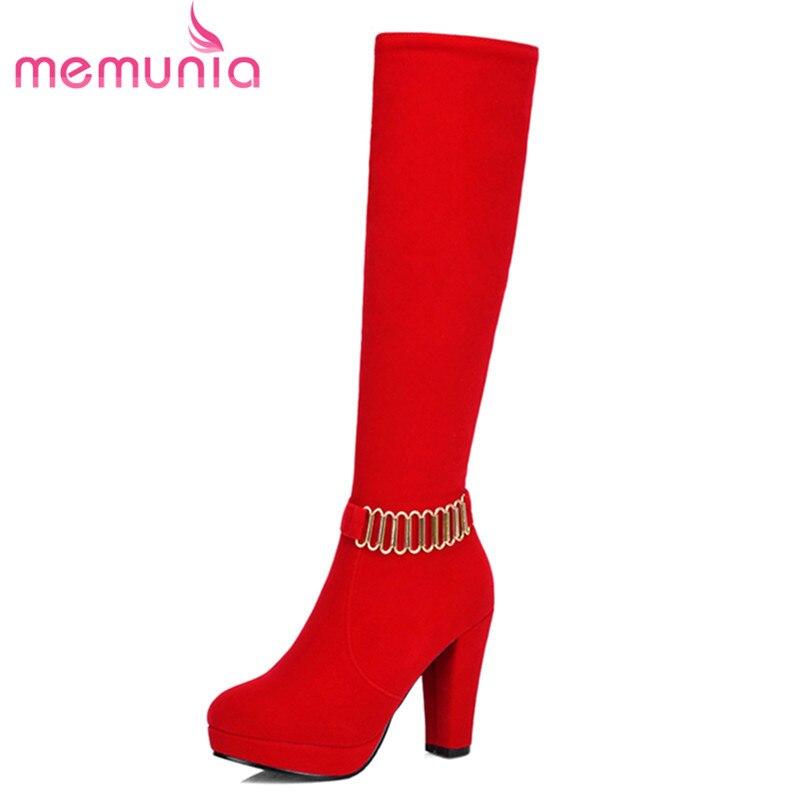 ФОТО fashion beautiful knee high women boots flock leather thick high heels boots platform round toe black red winter