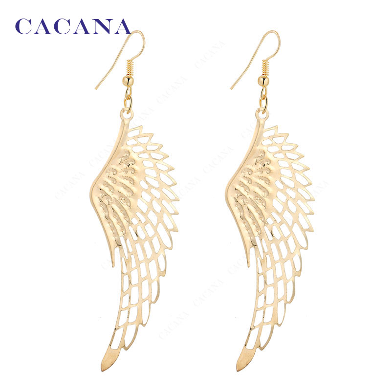 2016 new CACANA gold plated dangle long earrings with top quality big wing for women bijouterie hot sale No.A27 A28