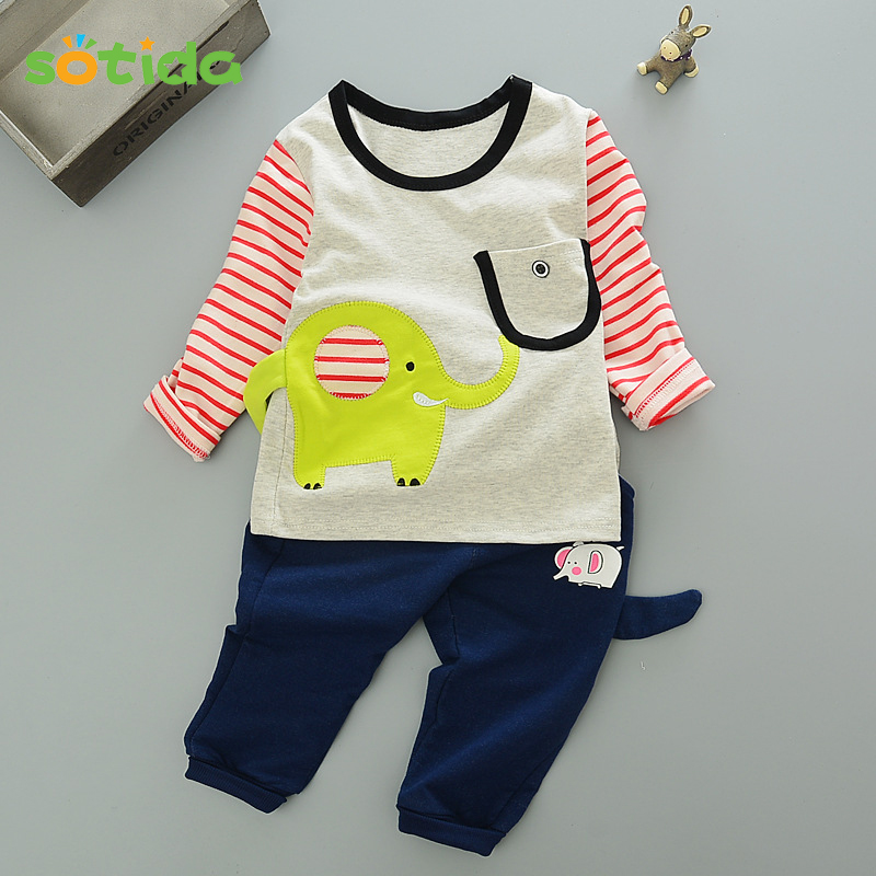 2018 Autumn Baby Girls and boys suit baby Elephant cartoon casual long-sleeved striped t-shirt + pants 2pcs Kids Clothing Set